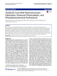ZnO@CdS Core-Shell Heterostructures: Fabrication, Enhanced Photocatalytic, and Photoelectrochemical Performance